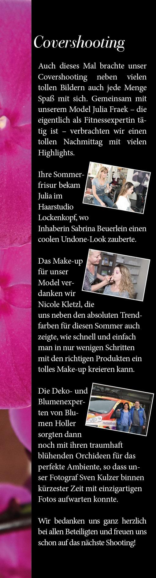 Covershooting für unsere Apil-Ausgabe. Gemeinsam mit dem Haarstudio Lockenkopf, dem Day Spa Nicole Freilassing und Blumen Holler